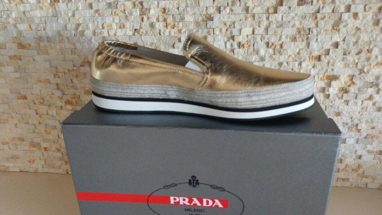 595 Nueva Prada mujer de oro oro oro metálico Resbalón en Zapatillas Zapatos US 9 EU 39  edición limitada en caliente