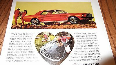 ★★RARE-1966 MUSTANG WRANGLER VINTAGE ADVERTISEMENT AD-67 BABY BLUE FORD COUPE★