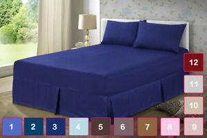 Plain Dyed Box Pleated Valance Sheet Double King Size Bed