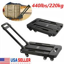 Heavy Duty 440 Lbs Folding Hand Truck Trolley Luggage Cart Foldable Dolly Push