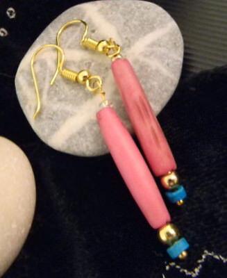 1 Paar Ohrringe Gold-magenta-türkis Neu Holzkugeln Modeschmuck Echt Handarbeit