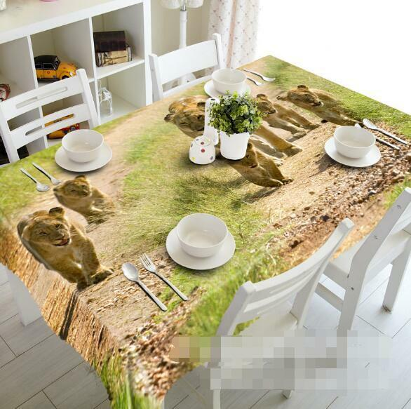 3D Cute Lion 5 Tablecloth Table Cover Cloth Birthday Party Event AJ WALLPAPER AU