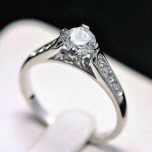 Anillo de lujo trébol 18k Cristal de Plata de colores anillo de compromiso regalo de Navidad