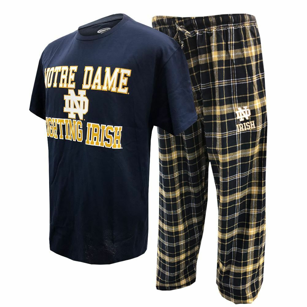 NCAA Men's Notre Dame Fighting Irish Halftime Pajamas Shirt & Pants Sleep Set