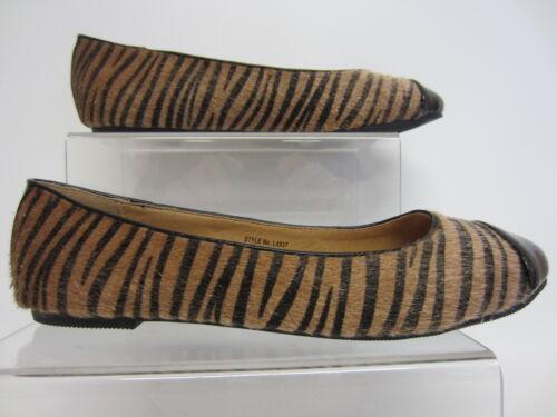 R25A middle Anne Michelle L4R937 Ladies Flat Shoe  Tan Zebra Poney UK5-8