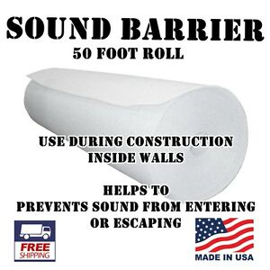 "50ft x5 ft roll 1/2"" thick WHITE Professional Studio Soundproofing noise barrier"