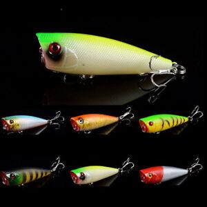 6cm-7g-Hard-Popper-Topwater-Fishing-Lures-Crankbaits-Bass-Hooks-Tackle