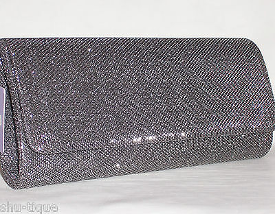 NEW WOMEN PEWTER GREY SHIMMER GLITZY PARTY CLUTCH SHOULDER PARTY BAG LADIES