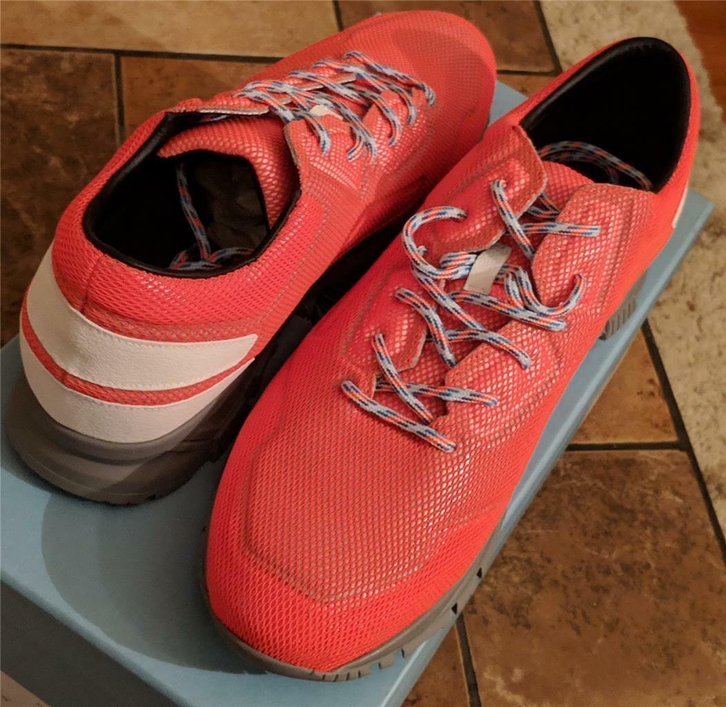 Herren Authentische Lanvin Netz Leder Laufschuhe Turnschuhe Orange UK 10 US 11