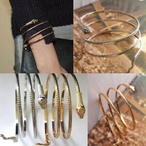 Fashion Womens Men Gold Silver Punk Upper Arm Cuff Snake ...