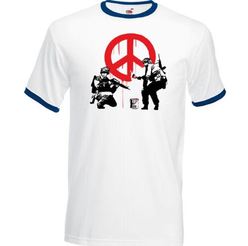 Banksy Peace Symbol Street Art T-Shirt Graffiti Anti War Love Hippie Top