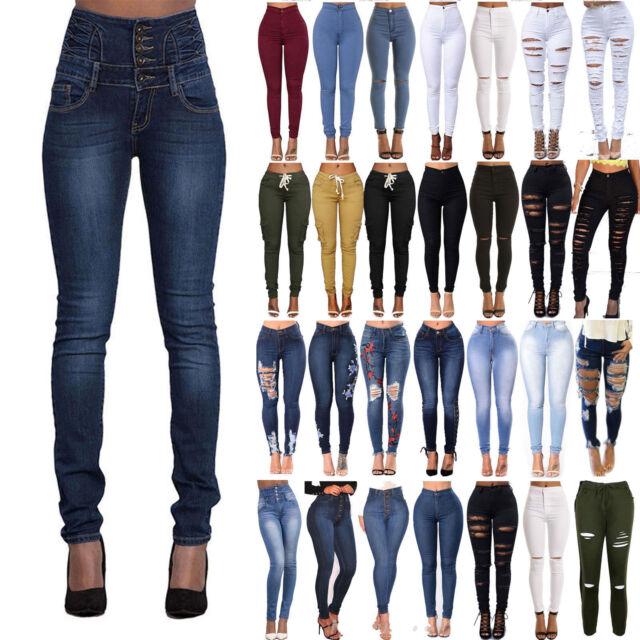 Women Jean Pants Trousers Jeggings Leggings Denim High waist Bodycon Fashion