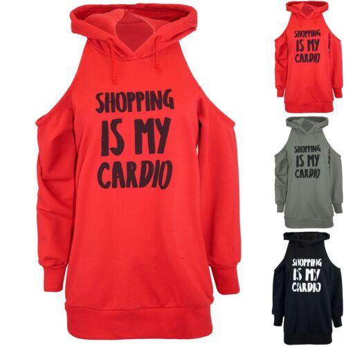 Le donne donna shopping è la mia Cardio freddo tagliato spalla Felpa Con Cappuccio Felpa Con Cappuccio Felpa