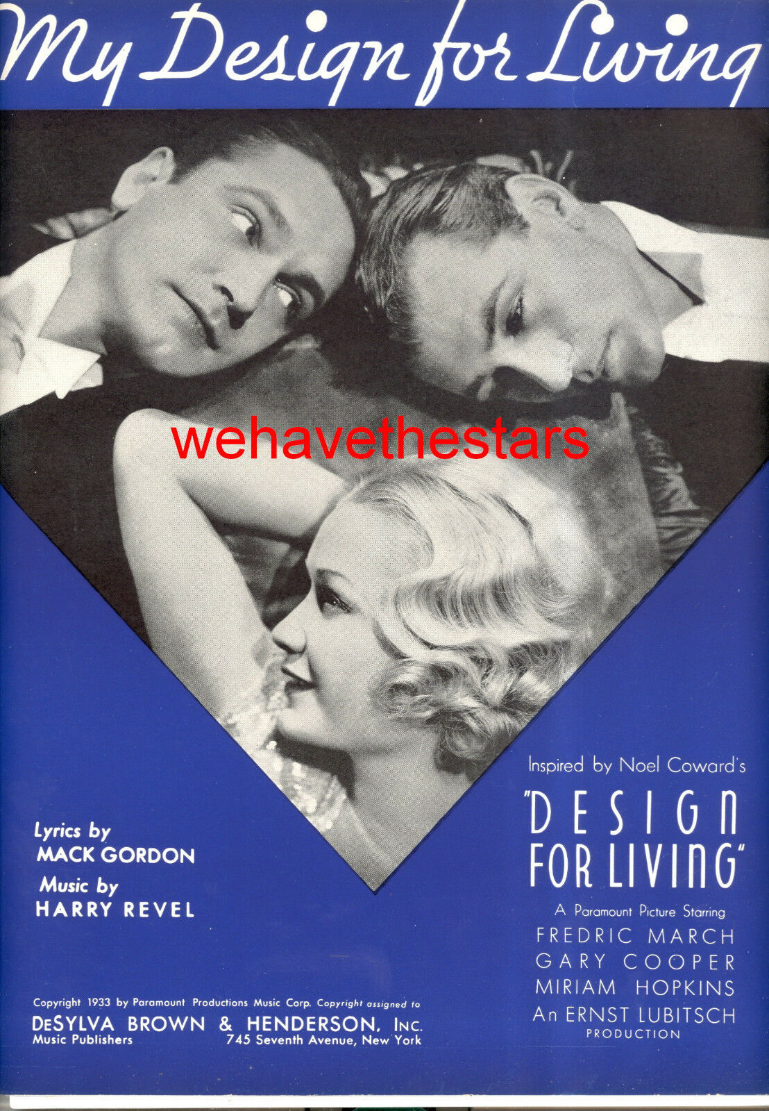 DESIGN FOR LIVING Sheet Music Gary Cooper Miriam Hopkins Frotric March MINT