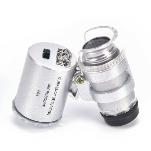 60X Magnifying Loupe Jewelry Jewelers Pocket Magnifier Loop Eye Coins Led ZP