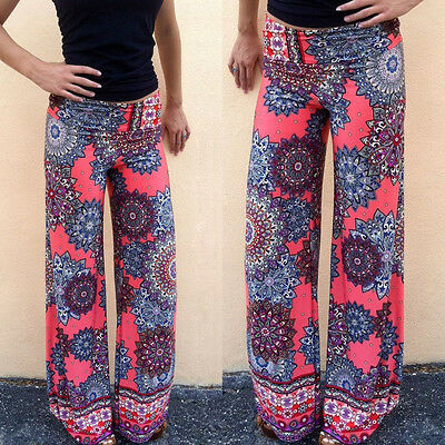 Women's Floral Printed Casual Wide Leg Palazzo Loose Pants Trousers Beach Long
