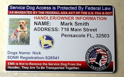 Custom ID Card / Badge for Working Dogs & Handler Certified Service Dog tag 15 N