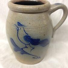"ROWE POTTERY WORKS RPW PITCHER JUG 7 3/4"" SALT GLAZE BLUE BIRD ETHAN ALLEN"