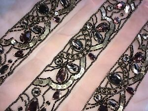 ddd93d69ab Details about Rhinestone Crystal Beaded Mesh Ribbon Applique Fabric Trimming