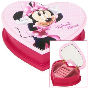 9f834b2dbb32e KIDS CHILDRENS GIRLS PINK DISNEY MINNIE MOUSE HEART JEWELLERY BOX ...