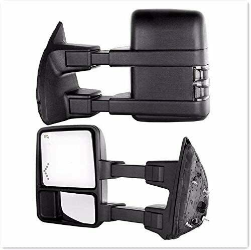 Tow Mirrors Compatible for Ford F250 F350 F450 F550 1999-2007 Super Duty Power Heated Turn Signal Light Smoke Lamp Cover Manual Telecoping Manual Fold