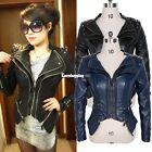 Trendy Women Punk Spike Studded Shoulder PU Leather Jacket Zipper Coat Size S-XL