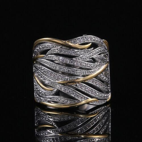Women Sapphire Wedding Ring Dlloy Silver Two Tone Rings White Zircon Size 6-10