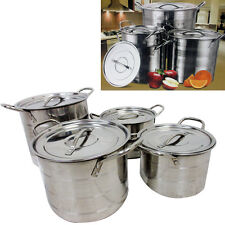 4 Pc Stock Pot Set Large Stainless Steel Heavy Duty Boiling Soup Catering New !