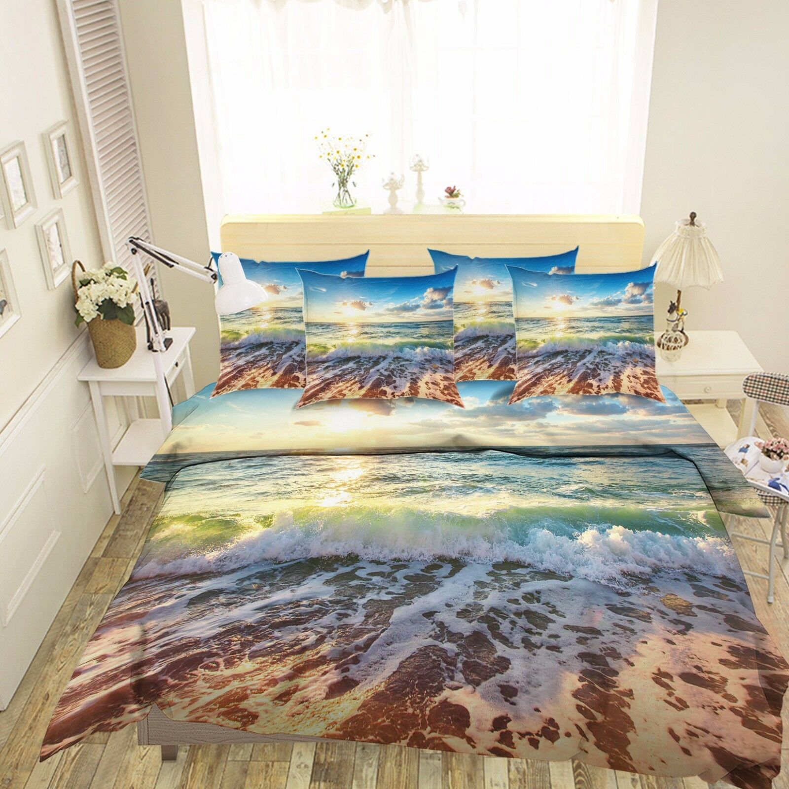 3D Sunset Tidal Beach 522 Bed Pillowcases Quilt Duvet Cover Set Single Queen CA