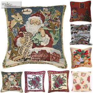 vintage weihnachten tapisserie gef llt kissen oder kissen h lle in 7 designs ebay. Black Bedroom Furniture Sets. Home Design Ideas