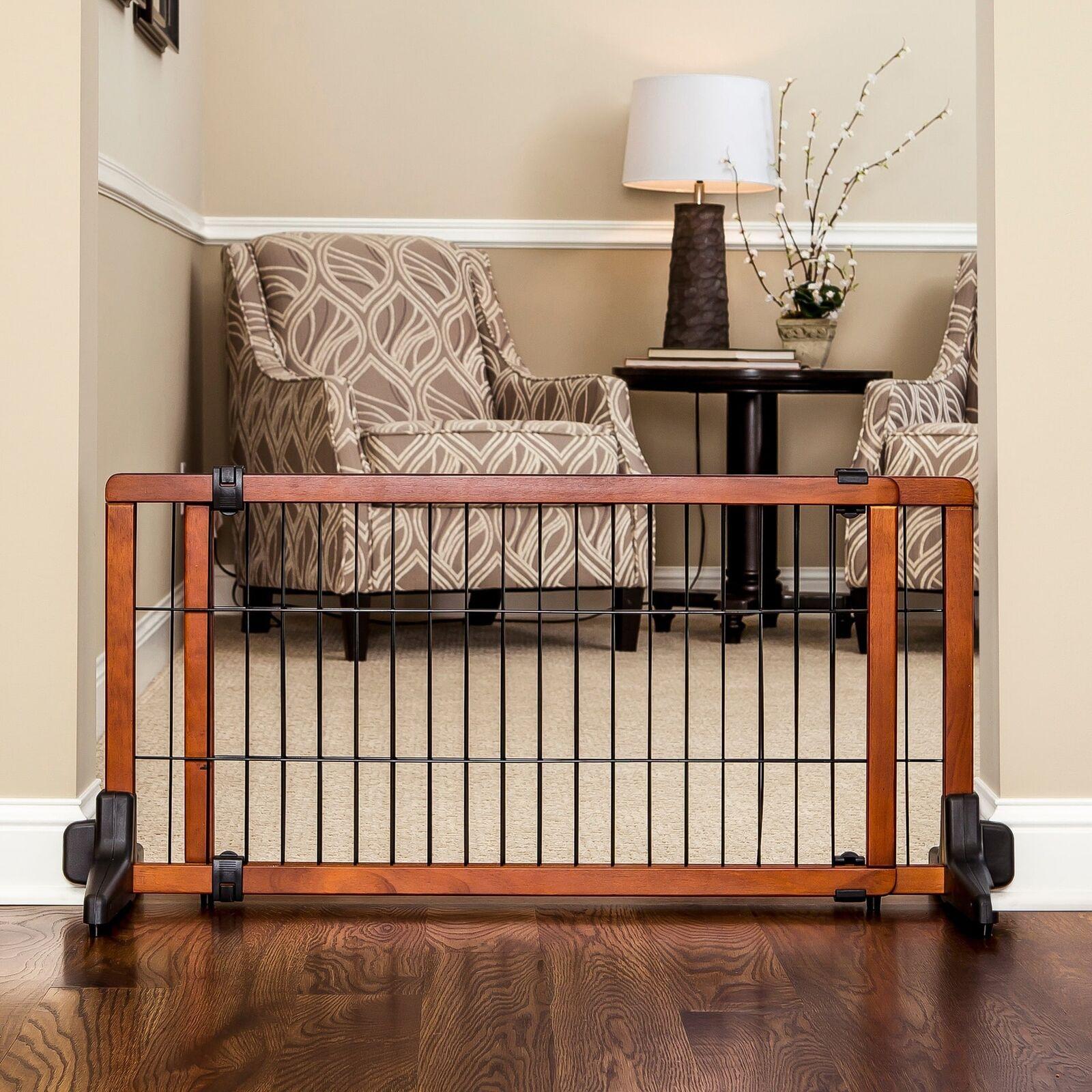 FreeStanding Wooden Pet Gate ~ Dog Safety Fence Indoor ~ Wood Barrier Step Over