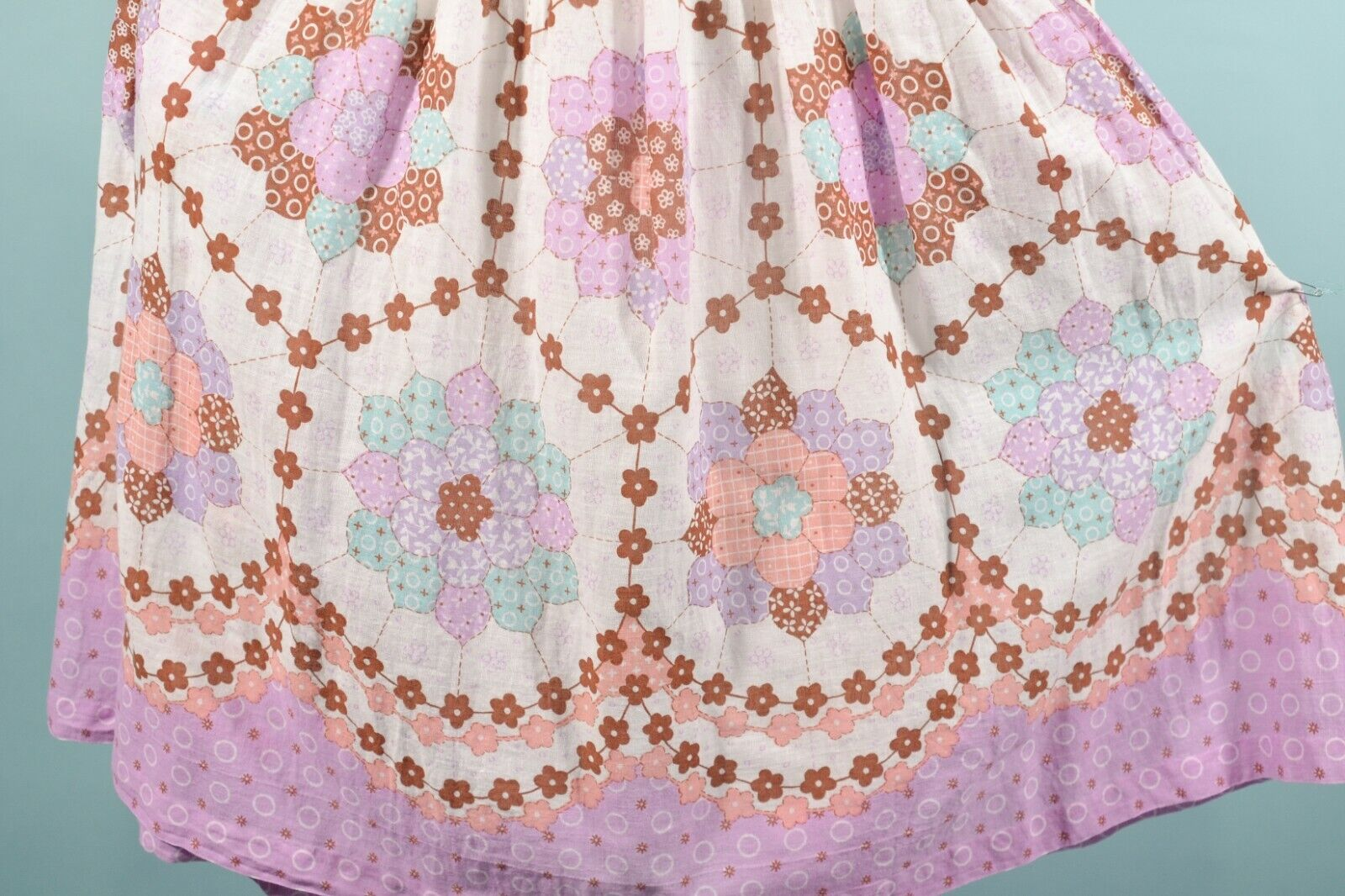 Vintage 60s/70s Faux Patchwork Hippie Dress, Cott… - image 11