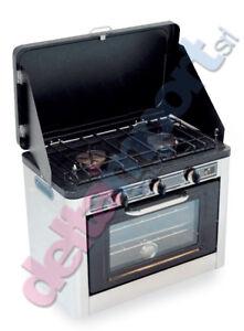 Forno-a-Gas-GPL-Portatile-2-fuochi-Camping-Nautica-Giardino-in-Metallo-Inox