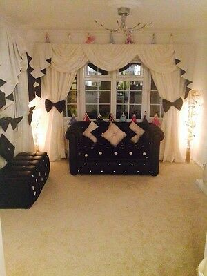 DESIGNER CURTAINS SWAGS AND TAILS IVORY & BLACK FULLY LINED