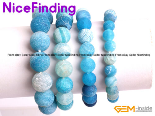 Handmade Frost Crackle Agate Stone Energy Healing Elastic Bracelets Jewelry Gift