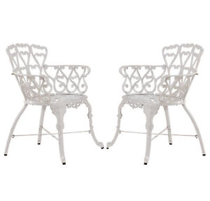 Awe Inspiring Details About Antique Victorian Cast Aluminum Patio Dining Chairs White Heart Set Of Two Ibusinesslaw Wood Chair Design Ideas Ibusinesslaworg