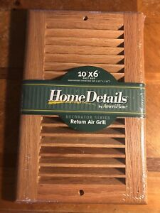 """All Wood Decorative Return Air Grill, Use for duct size 10"""" x 6"""" New In Wrapper"""