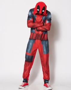 Deadpool One-Piece Pajamas Marvel Comics Hooded Union Suit Pj/'s S M L XL