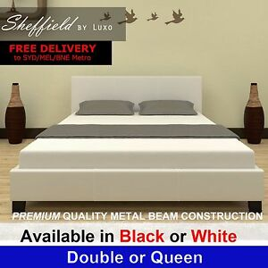 New Modern Queen Double Size PU Leather Bedroom Furniture White ...