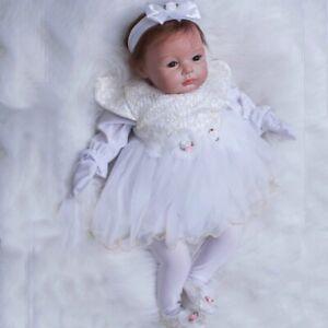 Realistic Soft Silicone Vinyl Reborn Baby Dolls Cute Newborn Girl with Dress