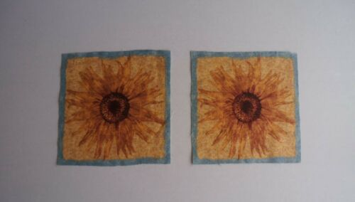 Fabric 2 Cotton 6 Squares - Burnt Yellow Sunflower - Sew Quilt Crafts