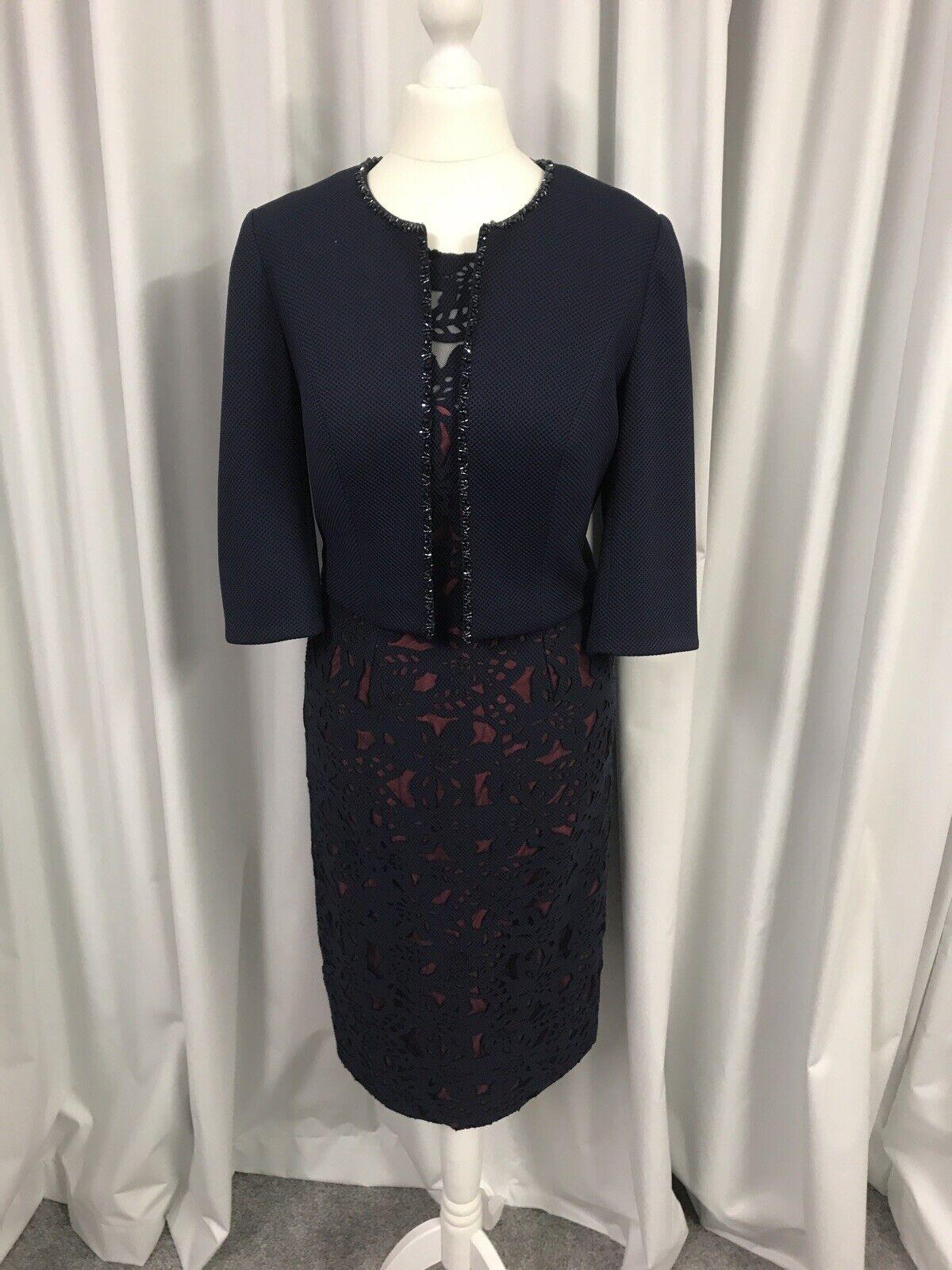 John Charles 26123A Mother Of The Bride, Dress & Jacket Navy/Coral UK10