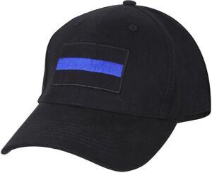Black-Thin-Blue-Line-Law-Enforcement-Police-Low-Profile-Adjustable-Baseball-Hat
