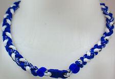 "NEW 20"" Custom Clasp Braided Sports Royal Blue White Tornado Necklace Medium"