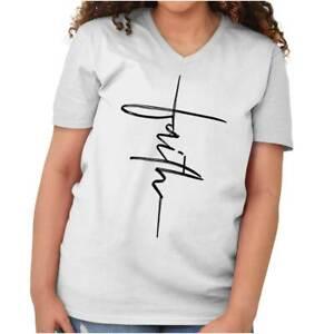Faith-Christian-Religious-Fashion-God-Gift-V-Neck-T-Shirt