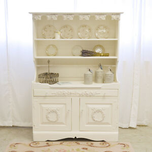 shabby cottage chic white french vintage style hutch china