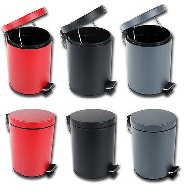 Treteimer 5 Liter Abfalleimer schlicht Rot Schwarz grau Mülleimer Bad Küche