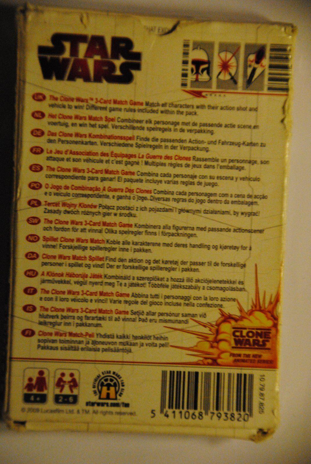 Kartenspiel 3-Card Match Game Cartamundi Kinder Das Star Wars The Clone Wars