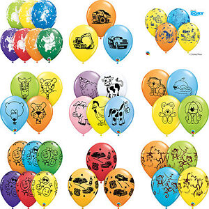 6-x-11-034-Printed-Qualatex-LATEX-BALLOONS-Assorted-Colours-Children-Birthday-Party