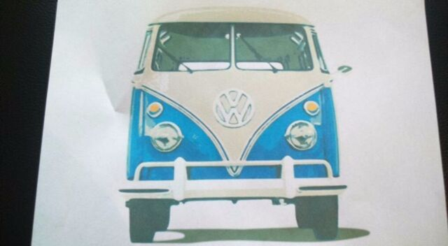 front view vw camper van iron on t shirt transfer A5 light garments only
